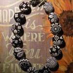 Fabric Button Necklace - Black/Whit..