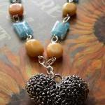 Glass Beaded Silver Heart N..