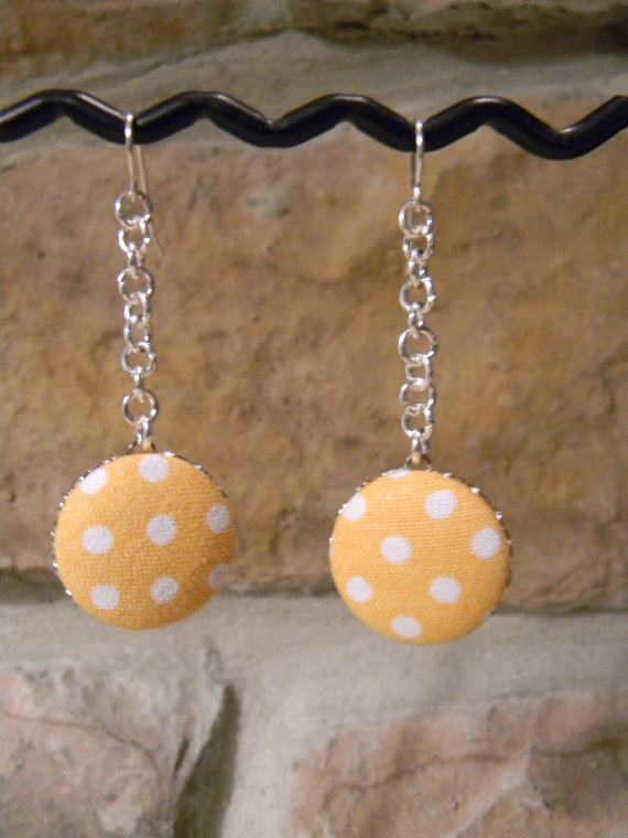 Long Fabric Button Earrings