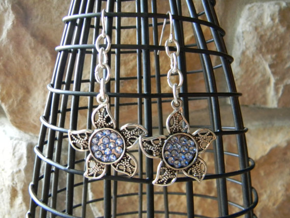 Silver Flower with Swarovski Crystal Earrings