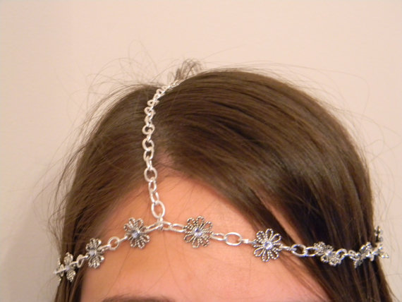 Swarovski Crystal/Silver Flower Head Band