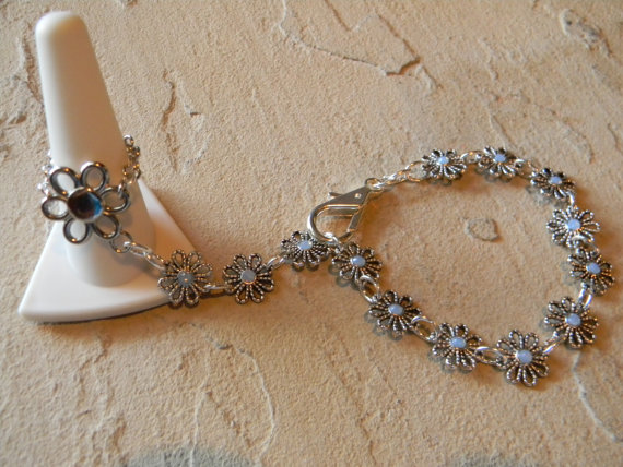 FREE SHIPPING - Flower Ring/ Bracelet and Swarovski Crystals